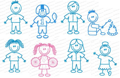 Stick Figure Characters Bundle Mix and Match Embroidery Design