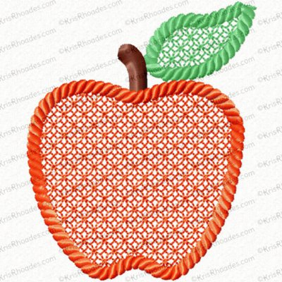 3 inch Apple Embossed Lace Filled with Rope Outline Embroidery Design