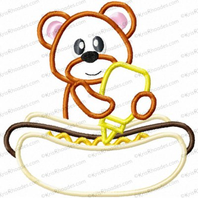 Bear with Hot Dog Applique Embroidery Design