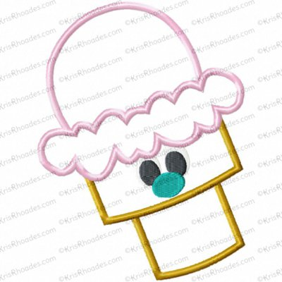Ice Cream Cone Applique Embroidery Design