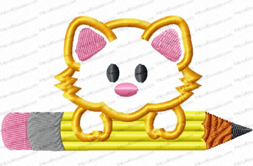 Kitty with Pencil Applique Embroidery Design