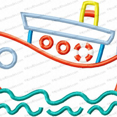 Tugboat Applique Embroidery Design