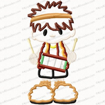 Nativity Set #2 Drummer Boy Applique Embroidery Design