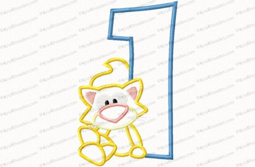 Kitty 1st Birthday Applique Embroidery Design
