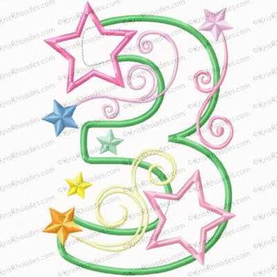 Stars and Swirls 3rd Birthday Applique Embroidery Design