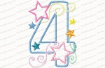 4 birthday number stars and swirls