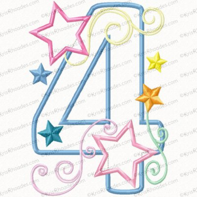 Stars and Swirls 4th Birthday Applique Embroidery Design