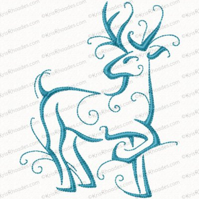 Christmas Reindeer Outline #10 Embroidery Design