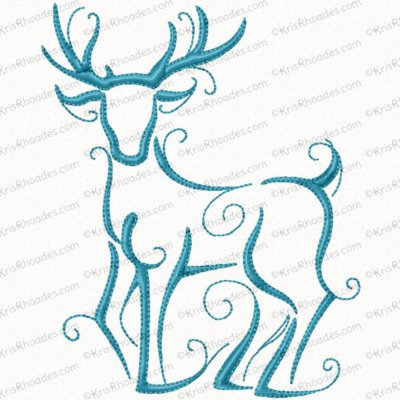 Christmas Reindeer Outline #7 Embroidery Design