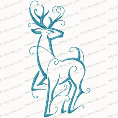 Christmas Reindeer Outline #9 Embroidery Design