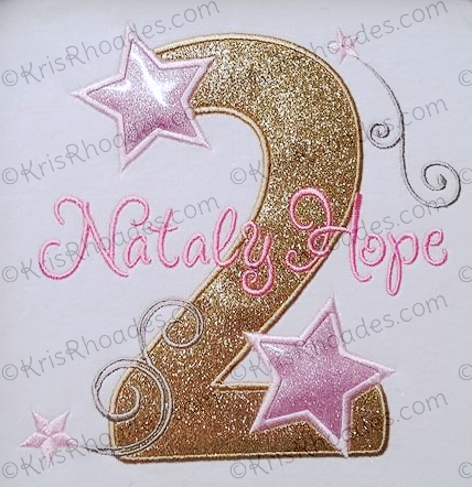 Stars and Swirls 2nd Birthday Applique Embroidery Design