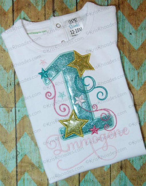 Stars and Swirls 1st Birthday Applique Embroidery Design