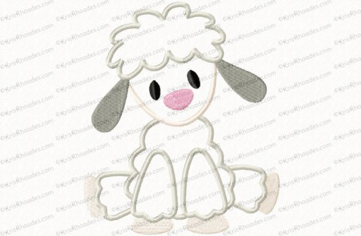 Nativity Set #8 Sitting Sheep Applique Embroidery Design