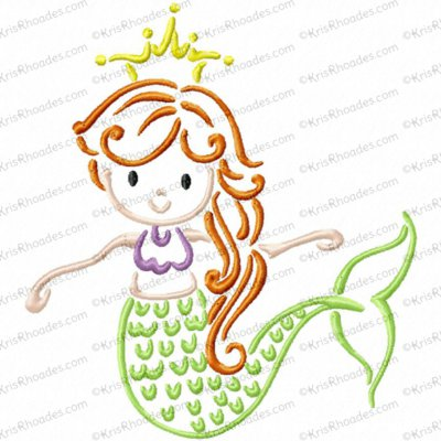 Mermaid Outline Embroidery Design