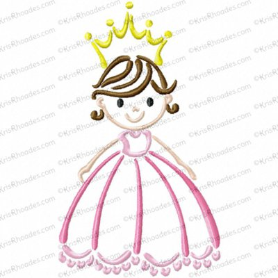 Princess Outline Embroidery Design