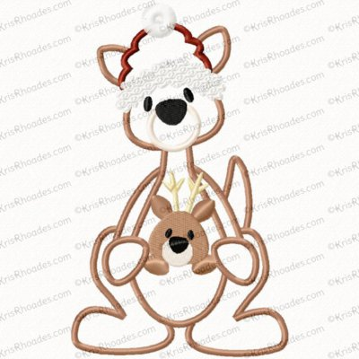 Christmas Kangaroo Applique Embroidery Design
