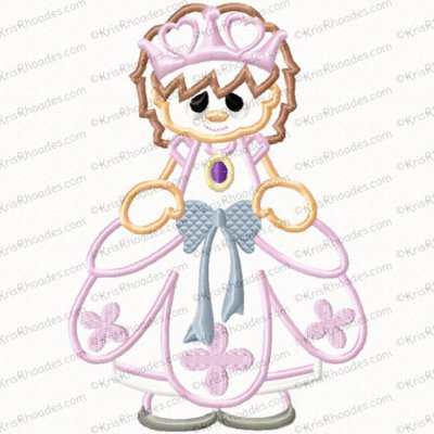 Lavender Princess Applique Embroidery Design