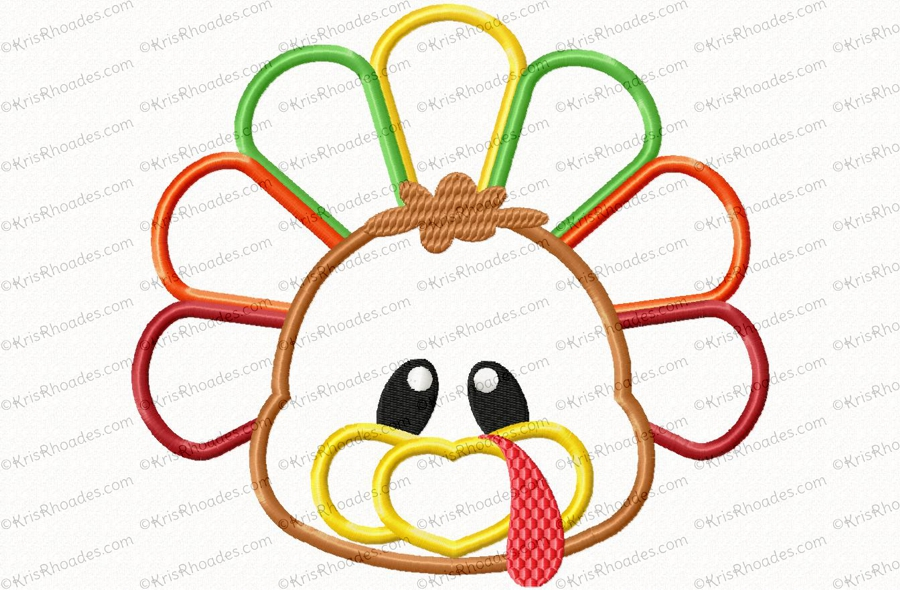 Turkey Face And Butt Applique Embroidery Design Kris Rhoades