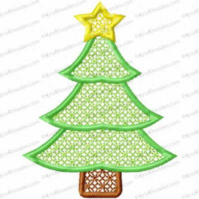 3 inch Tree Embossed Lace Filled Embroidery Design