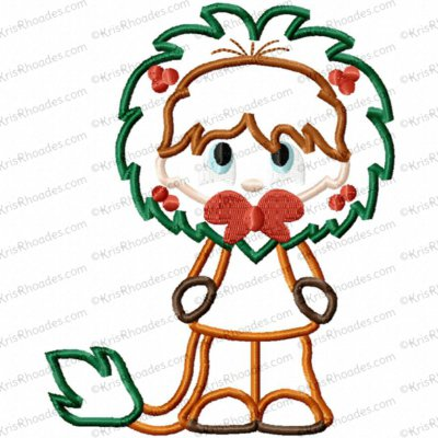 Christmas in Oz - Cowardly Lion Applique Embroidery Design