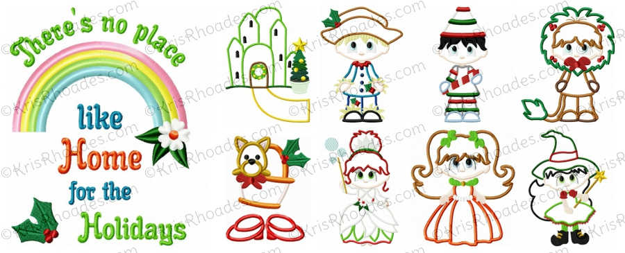 Christmas in Oz Set of 9 Applique Embroidery Designs