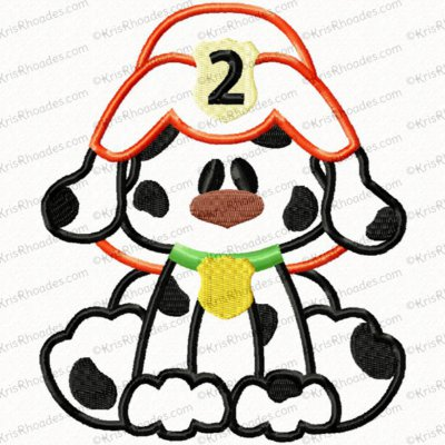 Fireman Dalmatian Dog Applique Embroidery Design