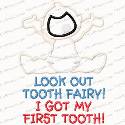 First Tooth Applique Embroidery Design