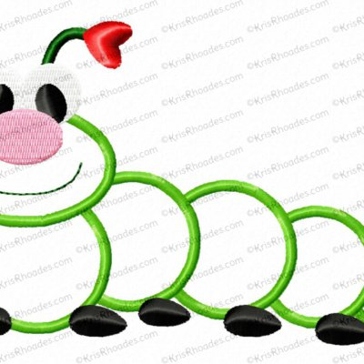 Love Bug Caterpillar Applique Embroidery Design