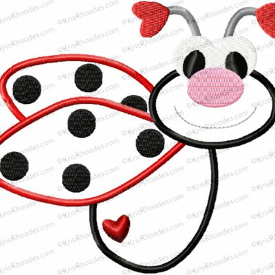 Love Bug Ladybug Applique Embroidery Design