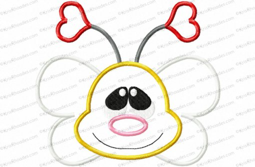 Bee Face and Butt Applique Embroidery Design