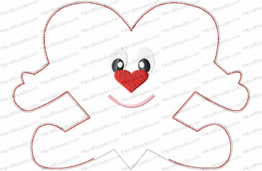 Heart with Face Stuffie Embroidery Design