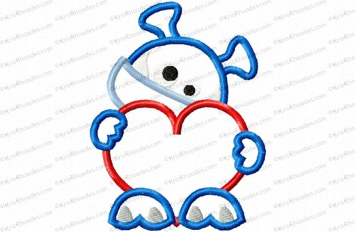 Monster with Heart Applique Embroidery Design