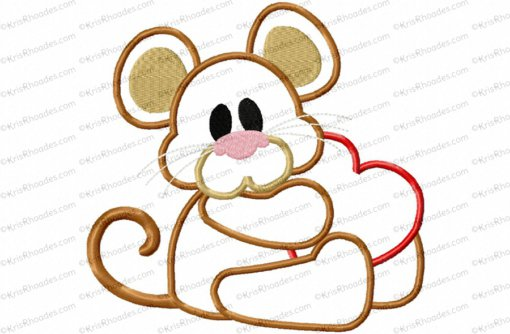 Mouse with Heart Applique Embroidery Design