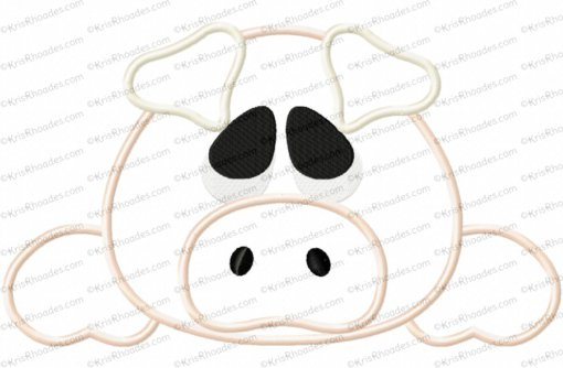 Pig Face and Butt Applique Embroidery Design