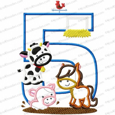 Farm Animal 5th Birthday Applique Embroidery Design
