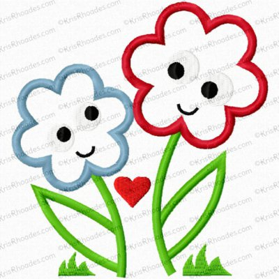 Flowers Cartoon Applique Embroidery Design