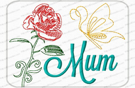 Mom/Mum Mug Rug Embroidery Design
