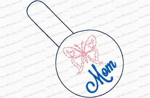 Mom/Mum with Butterfly Snap Tab Key Fob Embroidery Design