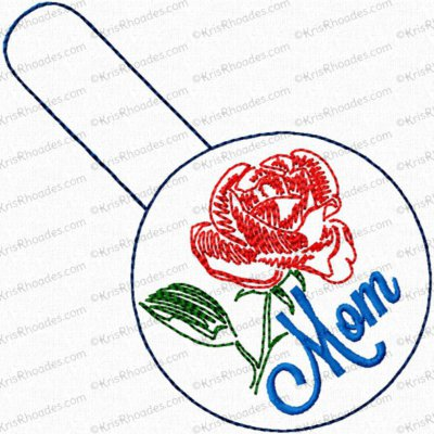 Mom/Mum with Rose Snap Tab Key Fob Embroidery Design