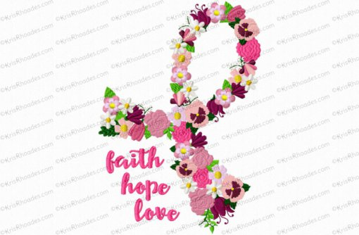 Cancer Ribbon of Flowers Embroidery Design