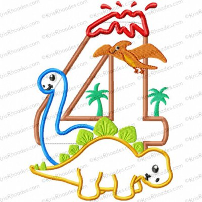 Dinosaur 4th Birthday with Brachiosaurus and Stegosaurus Applique Embroidery Design
