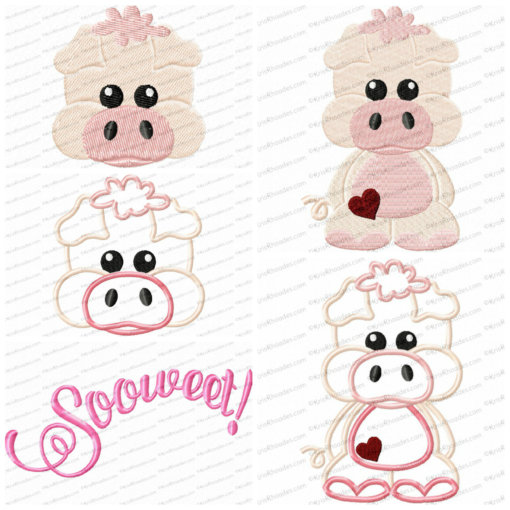 Pig Head and Full Body Embroidery Design Bundle
