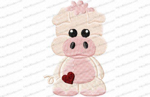 Full Body Pig Filled Embroidery Design