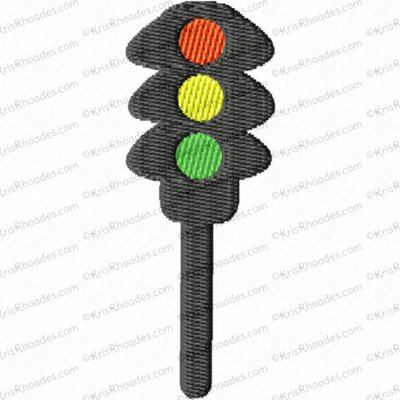 Mini Traffic Stop Light Filled Embroidery Design