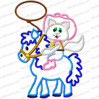Inspired Cutie Sheriff Cat on Horse Birthday Applique Embroidery Design