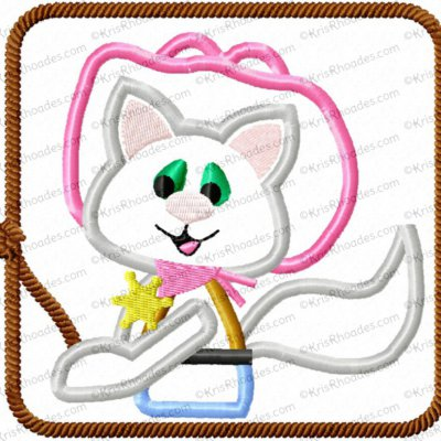 Inspired Cutie Sheriff Cat in a Square Applique Embroidery Design