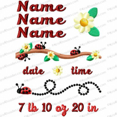 5x7 Ladybug Birth Announcement Template Embroidery Design
