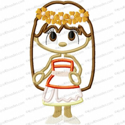 Polynesian Princess Applique Embroidery Design