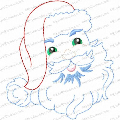 Vintage Santa Face Redwork Embroidery Design