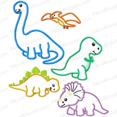 Dinosaur Bundle Applique Embroidery Design